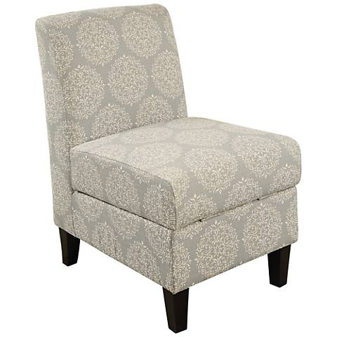 Ollano II Off-White Medallion Fabric Accent Chair w/ Storage