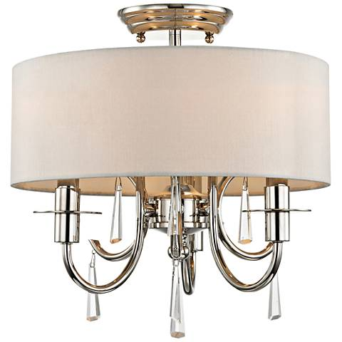 "Crystorama Cody 14""W 3-Light Polished Nickel Ceiling Light"