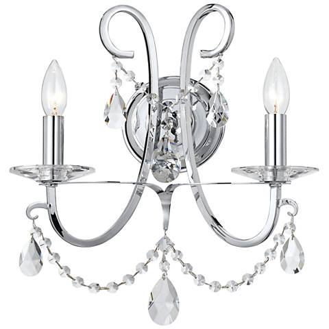 "Othello 15 3/4"" High Chrome Spectra Crystal Wall Sconce"