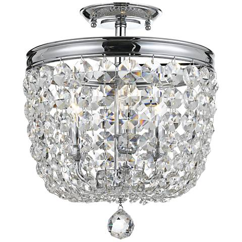 """Archer 11 1/2"""" Wide Chrome Spectra Crystal Ceiling Light"""