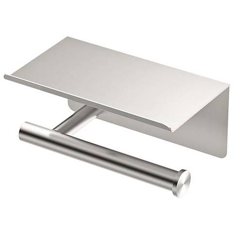 "Latitude II Satin Nickel 7""W Tissue Holder with Mobile Shelf"