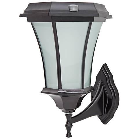 Black Dusk-to-Dawn Solar-Powered LED Outdoor Wall Light
