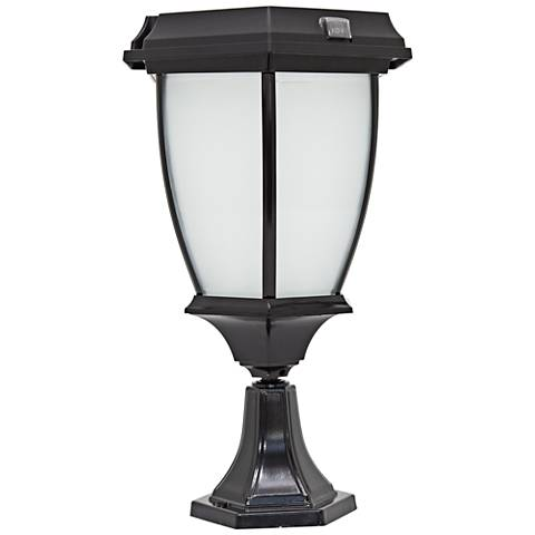 "Carriage-Style 15"" Solar LED Outdoor Post Light with Mount"