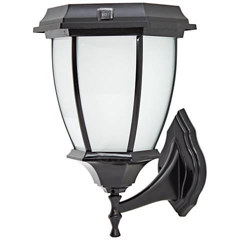 "Black Dusk-to-Dawn 15"" High LED Solar Outdoor Wall Light"