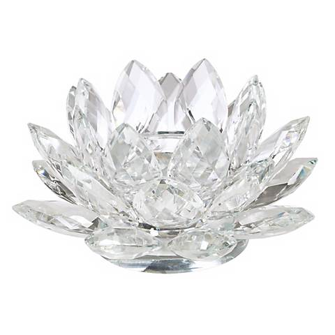 Clear Crystal Lotus Candle Holder