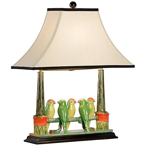 Wildwood Budgies Hand-Painted Ceramic Table Lamp