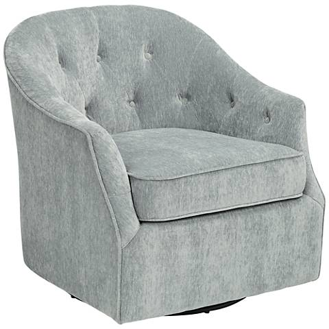 Calvin Opulent Glacier Tufted Upholstered Swivel Armchair