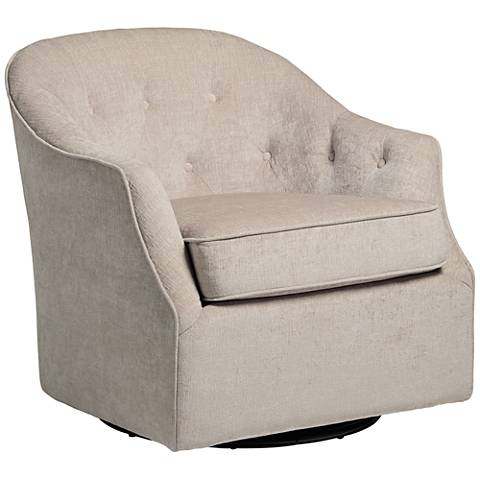 Calvin Taupe Tufted Upholstered Swivel Armchair