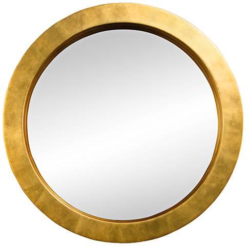 """Varaluz Casa Ringleader Gold Leaf 23 1/2"""" Round Wall Mirror"""