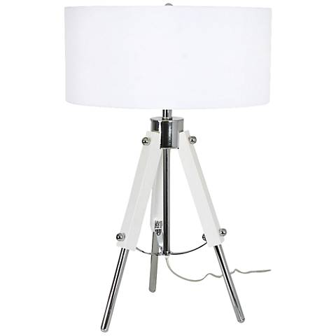Van Teal All Out Gloss White and Chrome Table Lamp