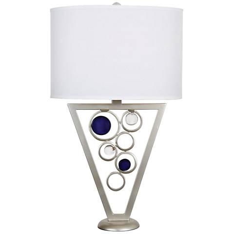 Van Teal Rolling Blues Silver Jacobean Metal Table Lamp