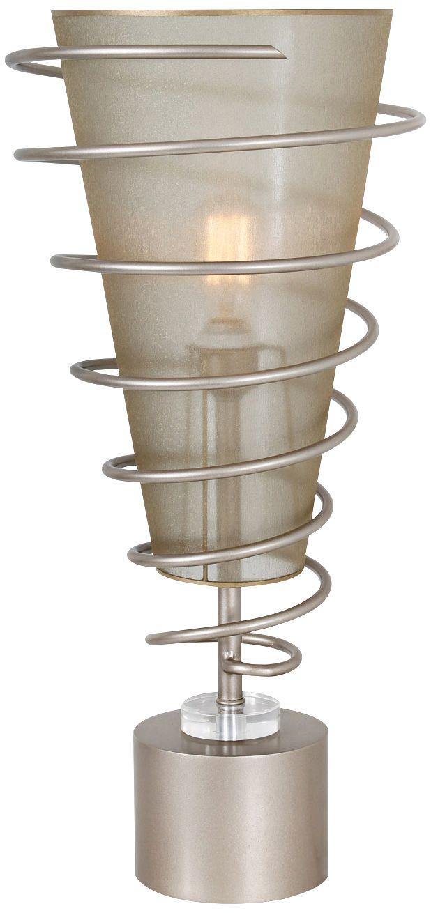 Van Teal Jazz Up Autumn Wood Silver Metal Uplight Table Lamp