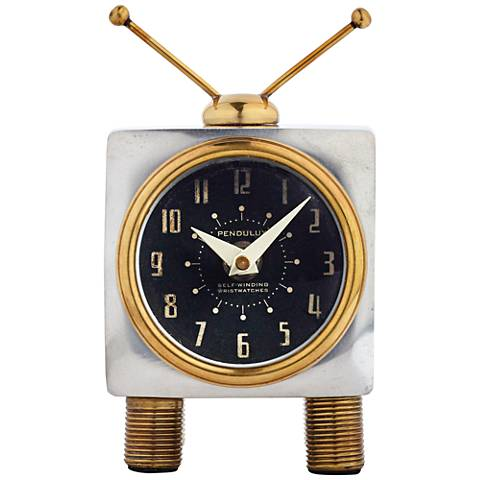 "Teevee Aluminum and Brass 6"" High Table Clock"