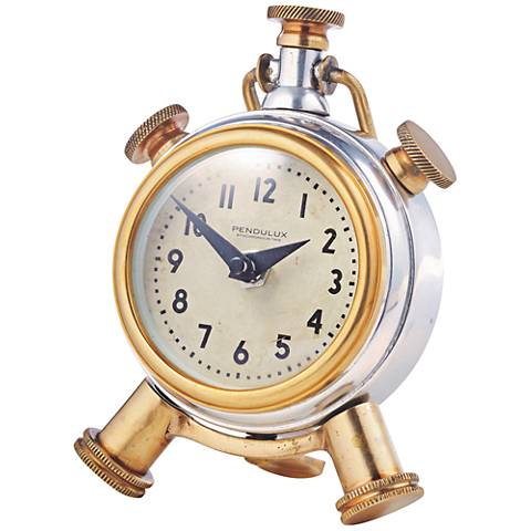 "Sprout Aluminum and Brass 6"" High Table Clock"