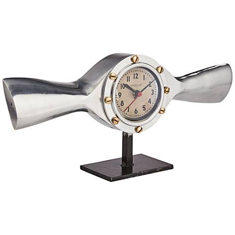 "Sprinner Aluminum and Brass 13"" Wide Table Clock"