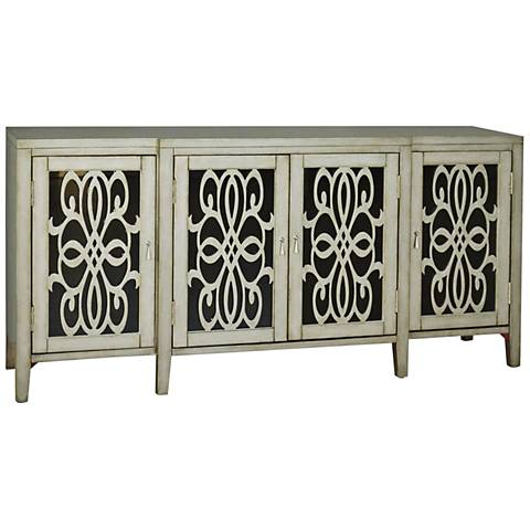 PFC Accents Tilda and Silver 4-Door Wood Cabinet