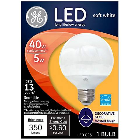 40W Equivalent GE Frosted 5W LED Dimmable Standard G25
