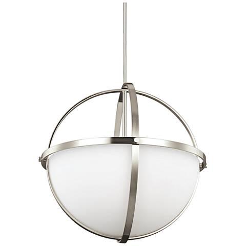 """Alturas 19"""" Wide 3-Light Brushed Nickel Pendant"""
