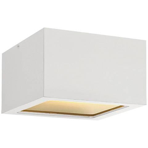 """Hinkley Kube 6"""" Wide Satin White LED Outdoor Ceiling Light"""