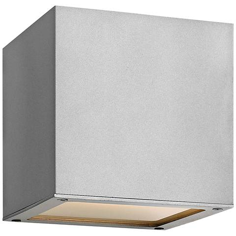 "Hinkley Kube 6"" High Titanium 2-LED Outdoor Wall Light"