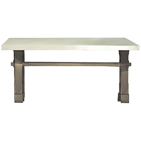 Flatiron Brownstone Wood Trestle Rectangular Dining Table