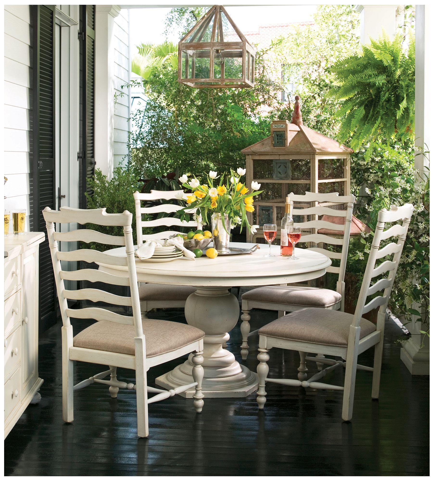Paula Deen Home Linen Wood Round Pedestal Dining Table