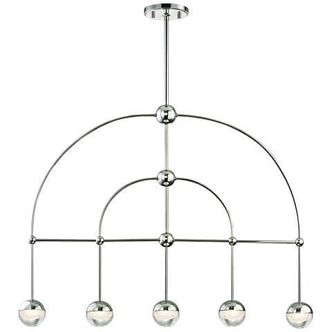 "Hudson Valley Boca 39""W Polished Nickel 5-LED Island Pendant"