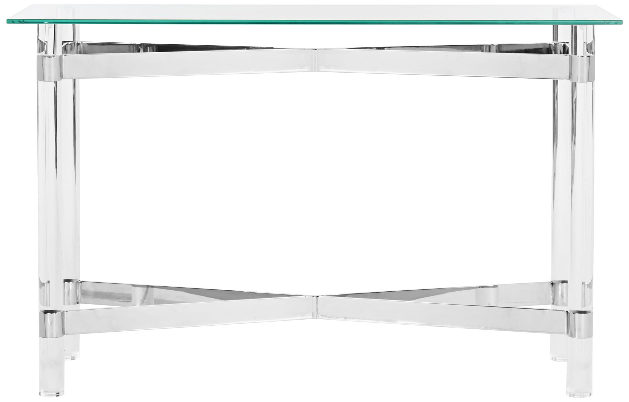 Couture Lainey Chrome Steel And Clear Glass Console Table