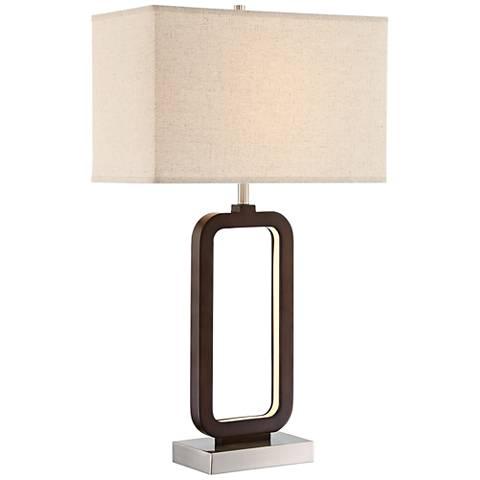 Lite Source Leonard Walnut Woodgrain LED 2-Light Table Lamp