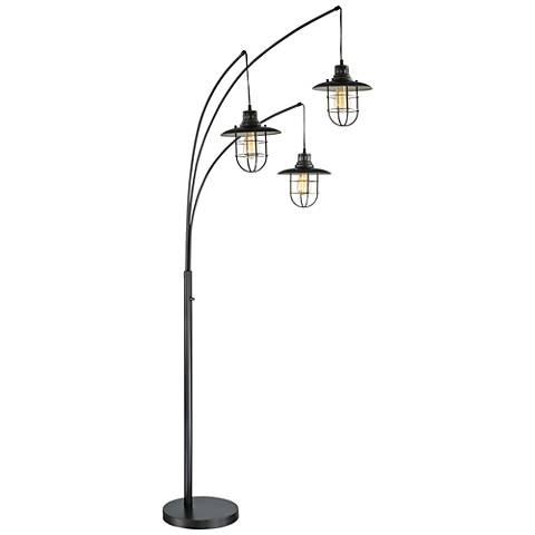 Lite Source Lanterna II Dark Bronze 3-Light Arc Floor Lamp