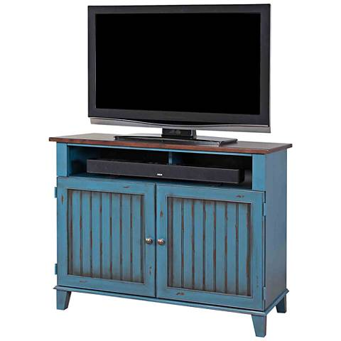 Ellington Vibrant Blue 2-Door Wood TV Stand