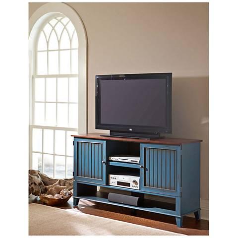Ellington Vibrant Blue 2-Door Wood Deluxe TV Stand