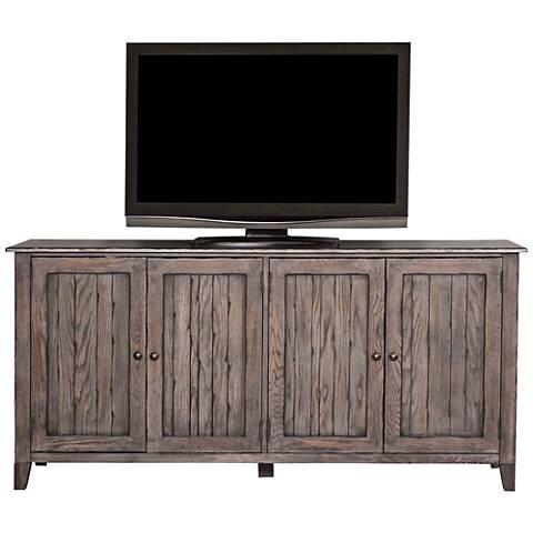 Harmon Weathered Greige Wood 4-Door TV Stand
