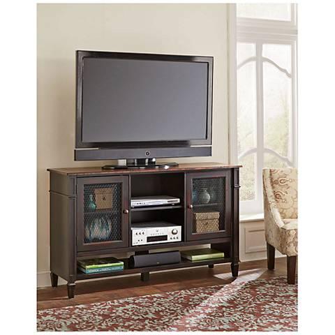 Navarro Two-Toned Aged Clove 2-Door Wood Deluxe TV Stand