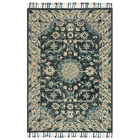Zharah ZR-02 Teal and Gray Area Rug
