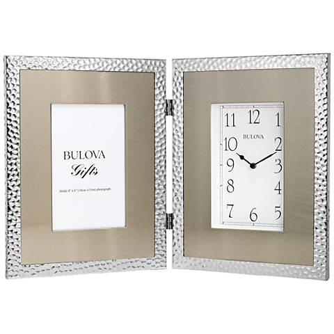"Bulova Cobblestone Silver 15 1/4""W Clock with Picture Frame"