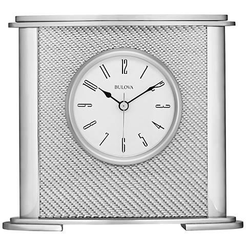 "Bulova Hewitt Silver 7"" High Metal Table Clock"