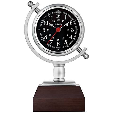 "Bulova Sag Harbor Silver and Espresso 7 3/4""H Table Clock"