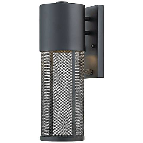"""Aria 15 1/2""""H Black and Steel Mesh LED Outdoor Wall Light"""