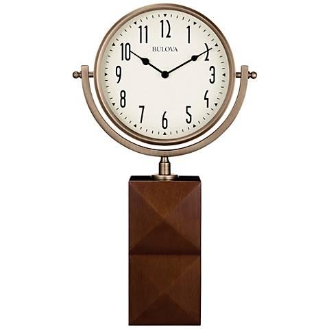 "Bulova Park Avenue Bronze and Brown 17 1/4"" High Table Clock"