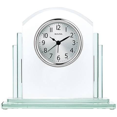 "Bulova Statement Silver and Glass 7 1/2"" High Table Clock"