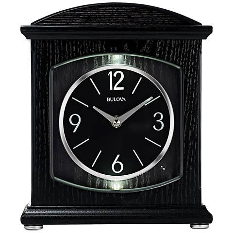 "Bulova Glendale Ebony Wood 9 3/4"" High Table Clock"
