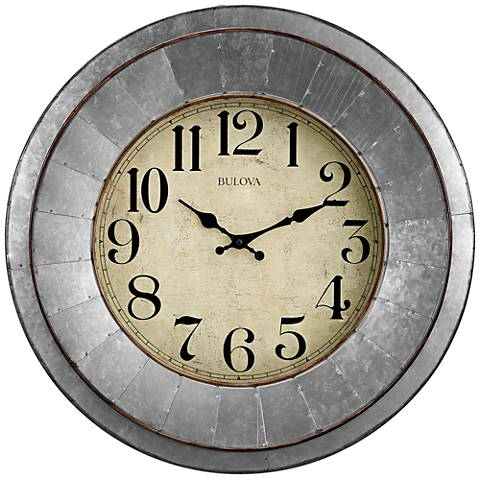 "Bulova Industrial Silver Metal 20"" Round Wall Clock"