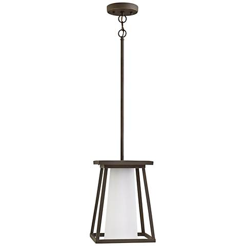 "Burke 13"" High Bronze and Opal Glass Outdoor Hanging Light"