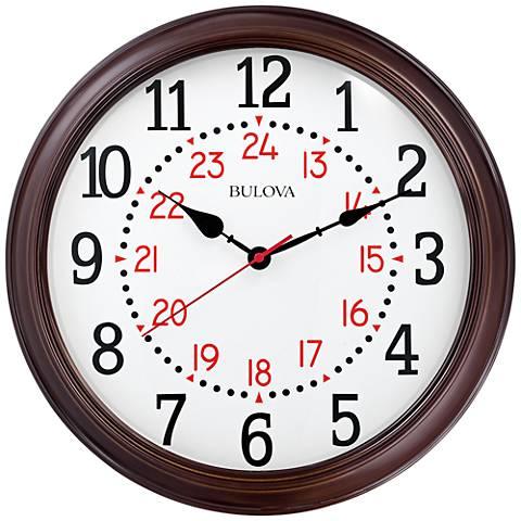 "Bulova Station Master Brown Wood 15 3/4"" Round Wall Clock"