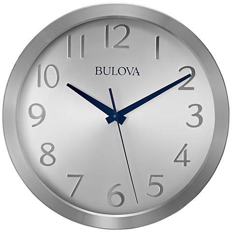 "Bulova Winston Silver Metal 9 3/4"" Round Wall Clock"