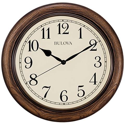 "Bulova Oakbrook Dark Oak Wood 16"" Round Wall Clock"