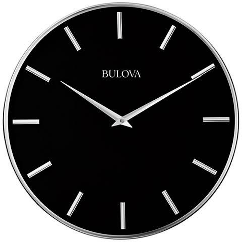 """Bulova Metro Pewter Metal 16"""" Round Wall Clock"""