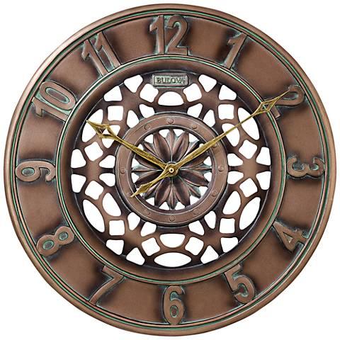 """Bulova Gardener Bronze 16"""" Round Resin Wall Clock"""
