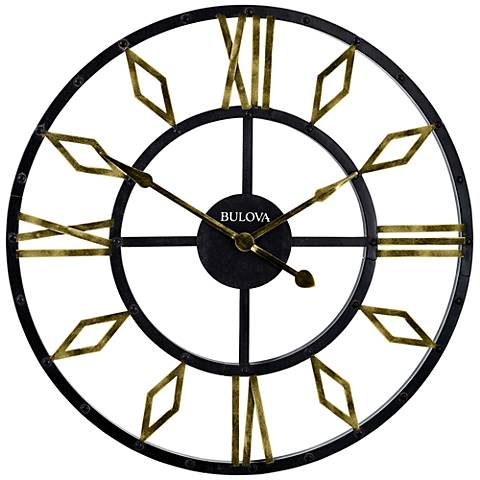 """Bulova Diamond Gallery Black Metal 36"""" Round Wall Clock"""